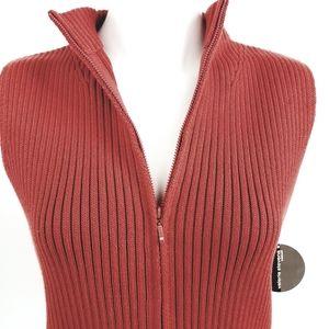 Valerie Stevens Ribbed Zipper Sweater Vest